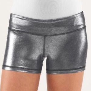 Lululemon Ivivva Rhythmic Silver Shorts Girls 14